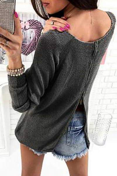 Zipper Back Sweater