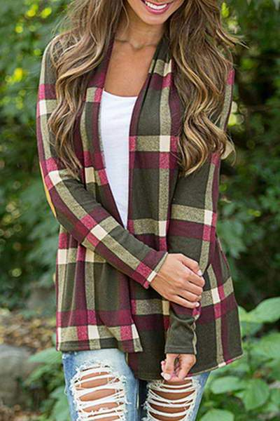 Open Front Plaid Shirt
