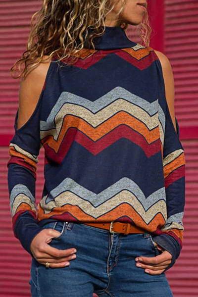 split-long-sleeve-turtle-neck-stylish-patterned-cold-shoulder-top