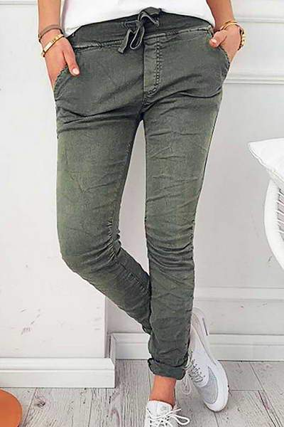 cotton-low-rise-slim-fit-drawstring-waist-jeans-solid-color-pants