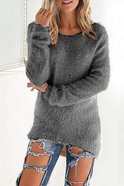 long-sleeve-pullover-round-neck-cute-solid-color-fluffy-sweater
