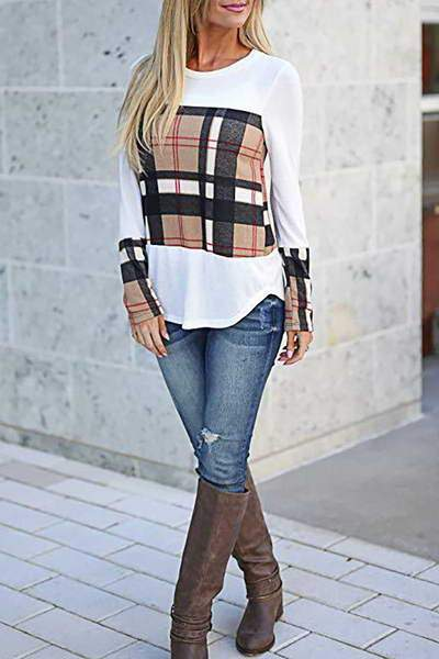 plaid-sleeve-round-neck-reg-length-casual-beige-checked-t-shirt-top