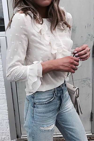 White Ruffle Star Blouse