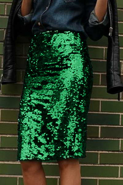medium-rise-slim-fit-knee-length-green-sparkly-sequinned-pencil-skirt