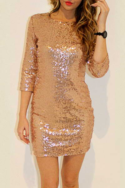 34-length-sleeve-round-neck-short-sparkly-sequinned-dress