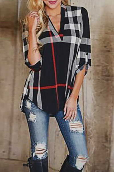 Plaid V Neck Tunic