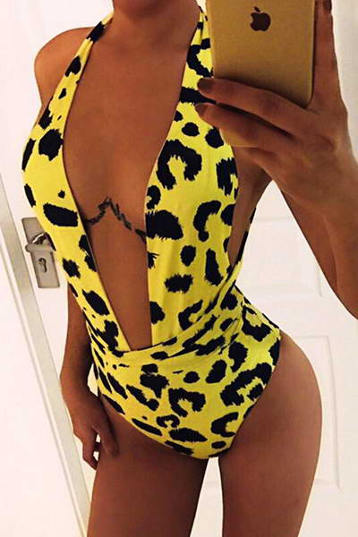 Yellow & Black Swimsuit