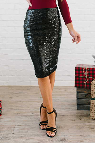 sparkly-high-waist-slim-fit-knee-length-sequined-pencil-midi-skirt