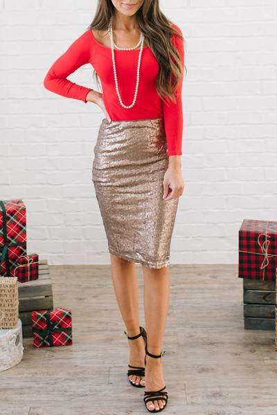sparkly-high-waist-slim-fit-knee-length-sequinned-pencil-midi-skirt