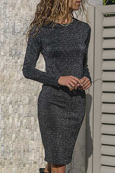 long-sleeve-round-neck-knee-length-glamorous-metallic-dress