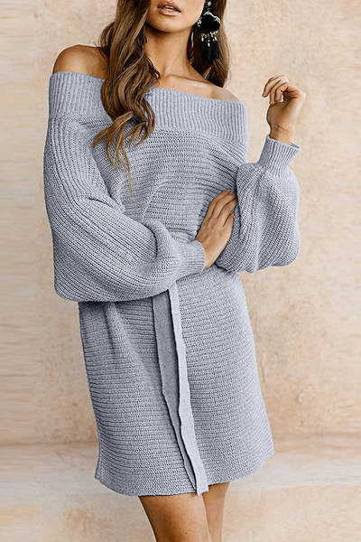 puff-sleeve-off-shoulder-short-chic-solid-color-knitted-belted-dress