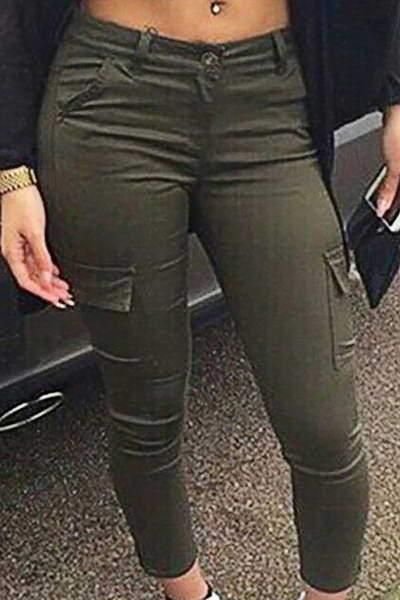 high-rise-skinny-fit-side-pocket-army-green-plain-cargo-pants