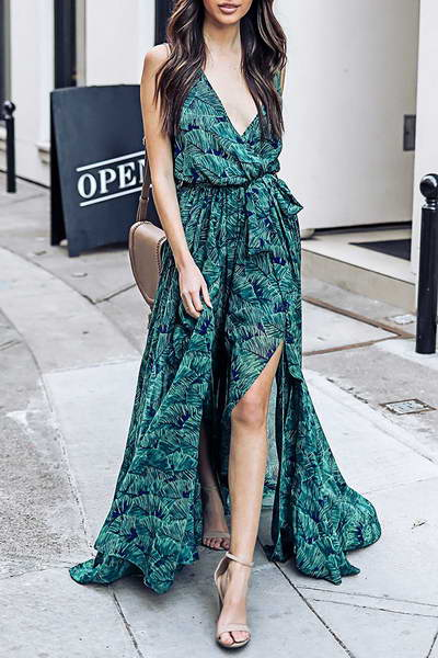 Green & Blue Leaf Maxi