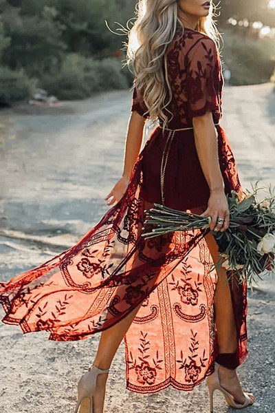 Sheer Burgundy Dress