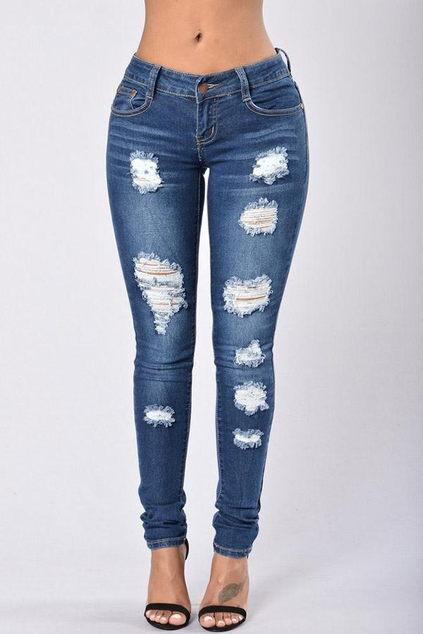 Distressed Faded Jeans