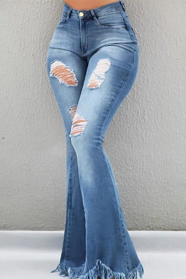 Hole Fringed Bell Jeans