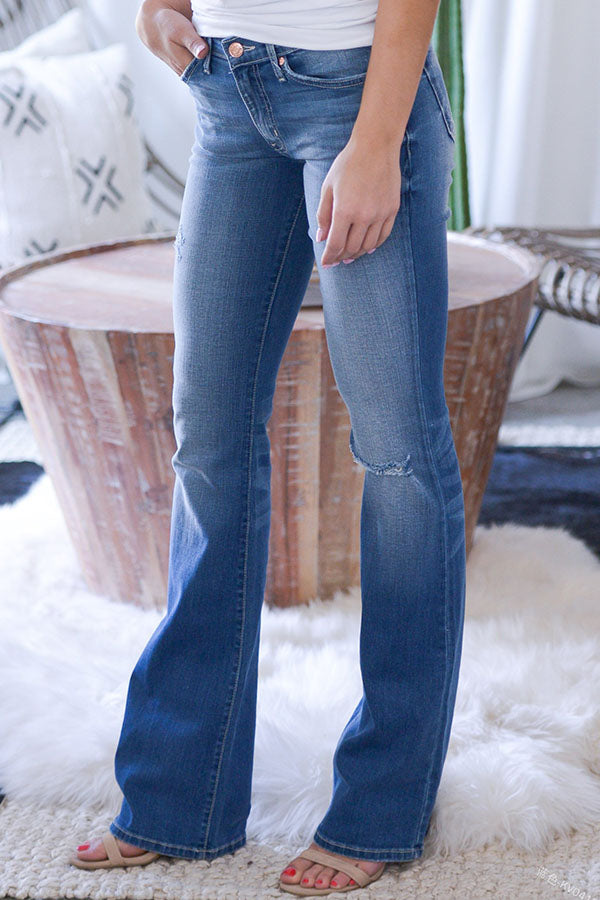 Hole Flared Long Jeans