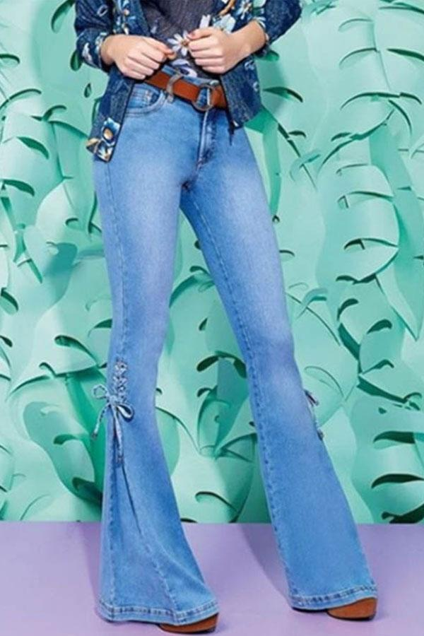 Lace-Up Flared Jeans