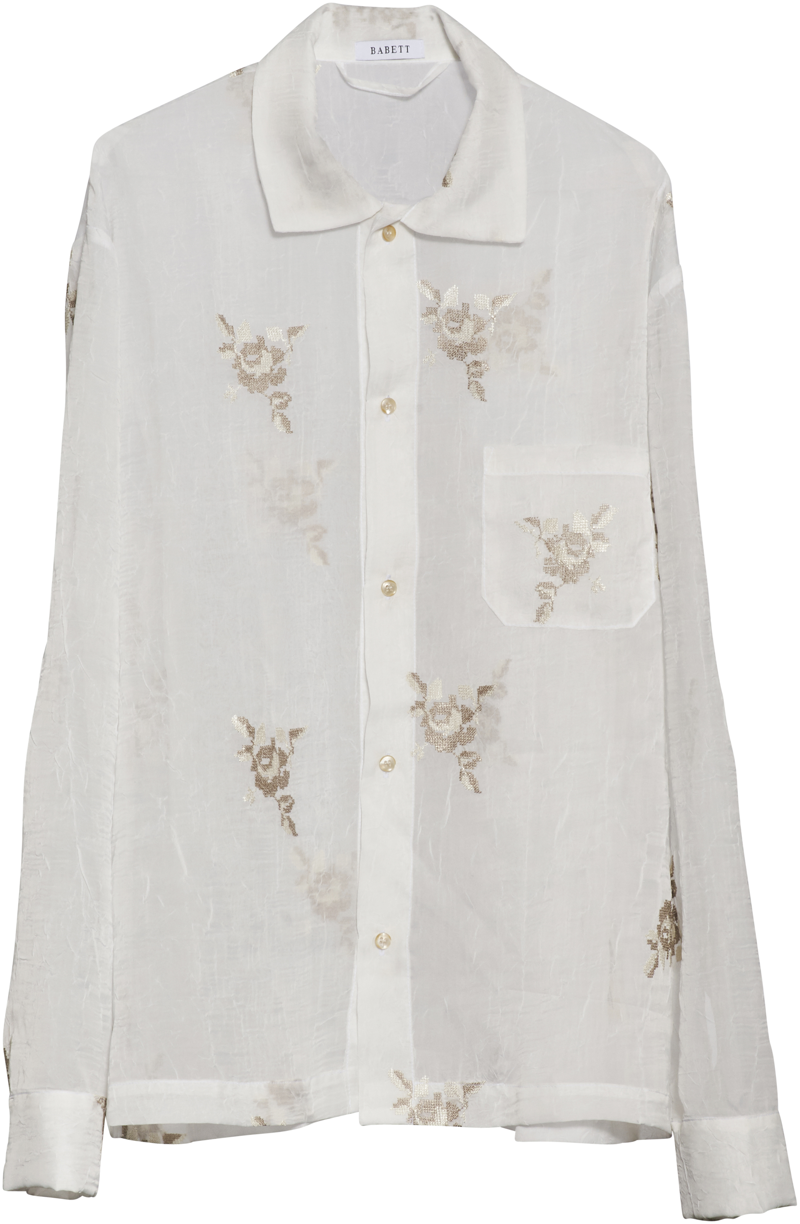 Transparent long sleeve shirt made from roses lace from the 60ies. This item is one-of-a-kind and made by hand in Denmark.  Loose fit – Large unisex