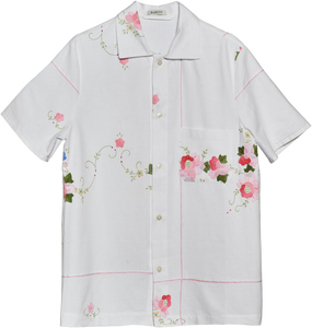 Short sleeve shirt made from French tablecloth with applique embroidery. This item is one-of-a-kind and made by hand in Denmark.  100% cotton Loose fit - Small  unisex