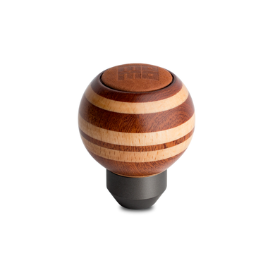 Momo Heritage Shift Knob - Targa, Round Wood, Layered Mahagony and Beechwood, Leather Insert Top