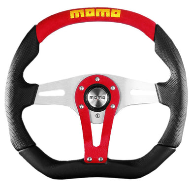 MOMO Trek Black | Red Leather Steering Wheel