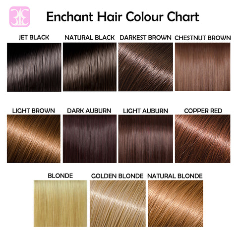 Jet Black Natural Black Dark Darkest Brown Light Brown Chestnut Brown Dark Auburn Light Auburn Copper Red Blonde Natural Blonde Golden Blonde
