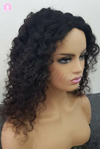 "16"" Curly Hair Wigs Mongolian Deep Curly Hair"