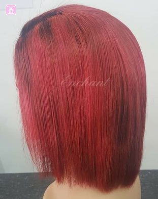 Bright Red Human Hair Bob Wigs