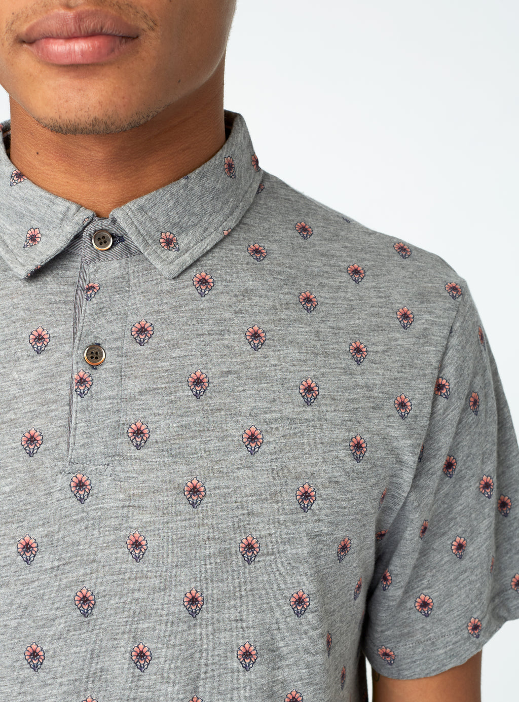 Grey Flower Polo Shirt