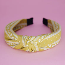 Load image into Gallery viewer, In A Knot Headband in Yellow Print | Headbands | Pollyanna Brand