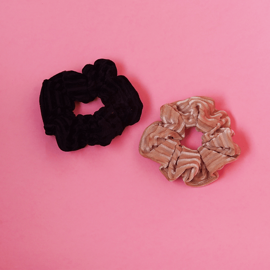 All Day Everyday Scrunchies in Black & Beige | Scrunchie | Pollyanna Brand