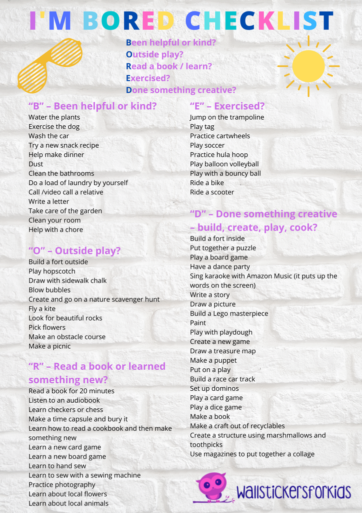 I'm Bored Kids Activity Checklist