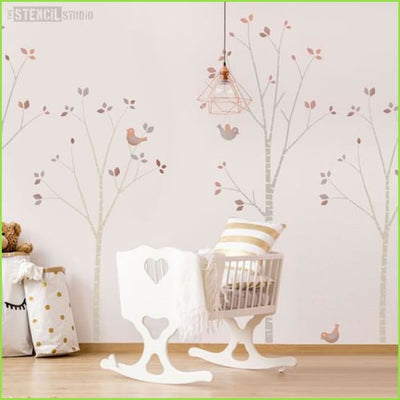 Birch Tree Nursery Wall Stencil on WallStickers.ie