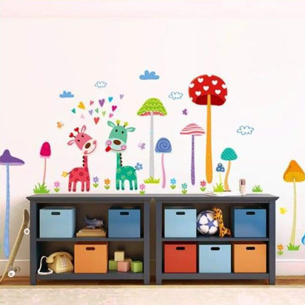 Colourful Giraffe Jungle Wall Stickers on WallStickers.ie