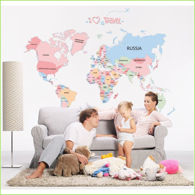 Cute Colour Map of The World on WallStickers.ie