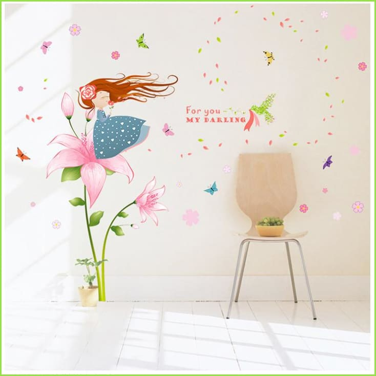 flowers & flamingos wall decals | stickers | stencils for kids rooms
