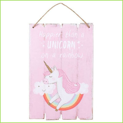 Happy Unicorn Wooden Plaque on WallStickers.ie