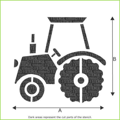 Large Farm Tractor Wall Stencil on WallStickers.ie