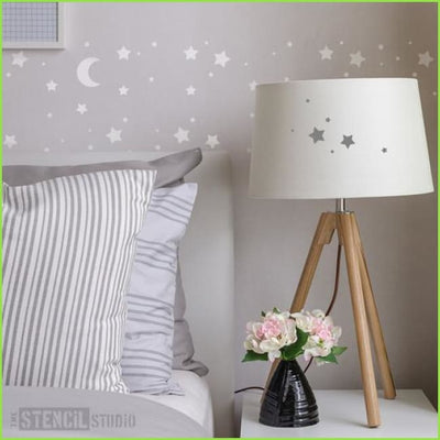 Moon and Stars Wall Stencil on WallStickers.ie