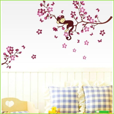 Pink Monkey Branches Wall Sticker on WallStickers.ie