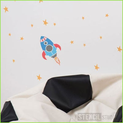 Rocket & Stars Wall Stencil on WallStickers.ie