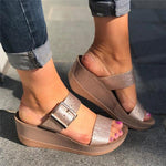 Casual Peep Toe Slip On Sandals