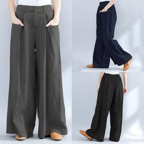 Casual Loose Plus Size Elastic Waist  Wide Leg Pants
