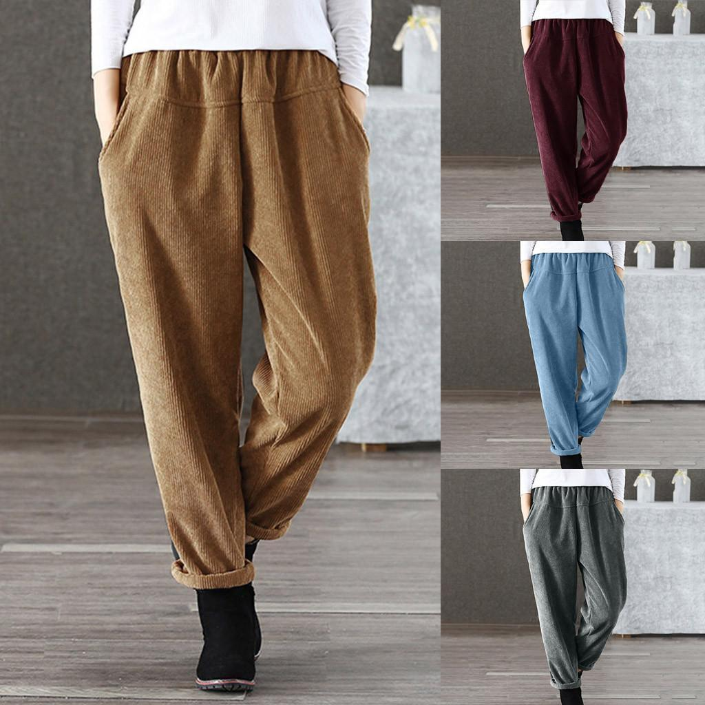 Casual Solid Color Comfy Corduroy Elastic Waist Trousers