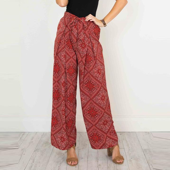 Bohemia Loose Checkerd Printing Shift Pants With Belt