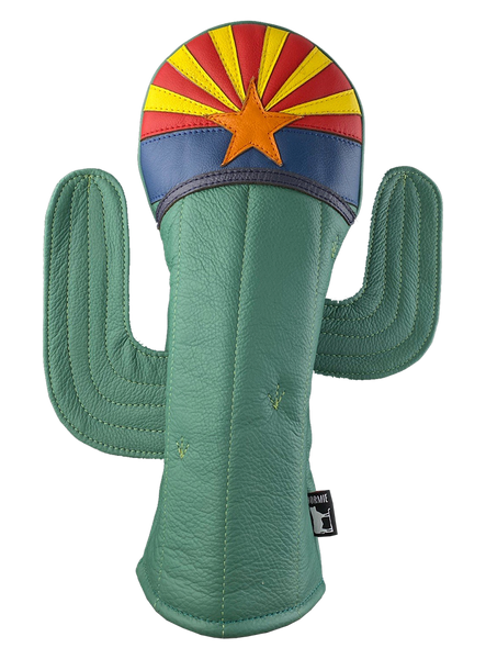 Dormie Workshop Big Cactus on Course. Leather Golf Headcover