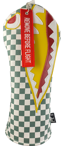 Dormie Workshop April Flying Tiger Checkered Leather Golf Headcover