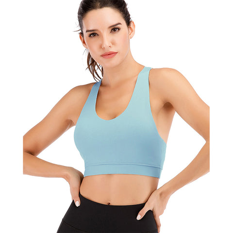 Cross Back Pure Color Fitness Bra