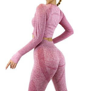 High-Waist Yoga Pants Long-Sleeves Sports Fitness Suit